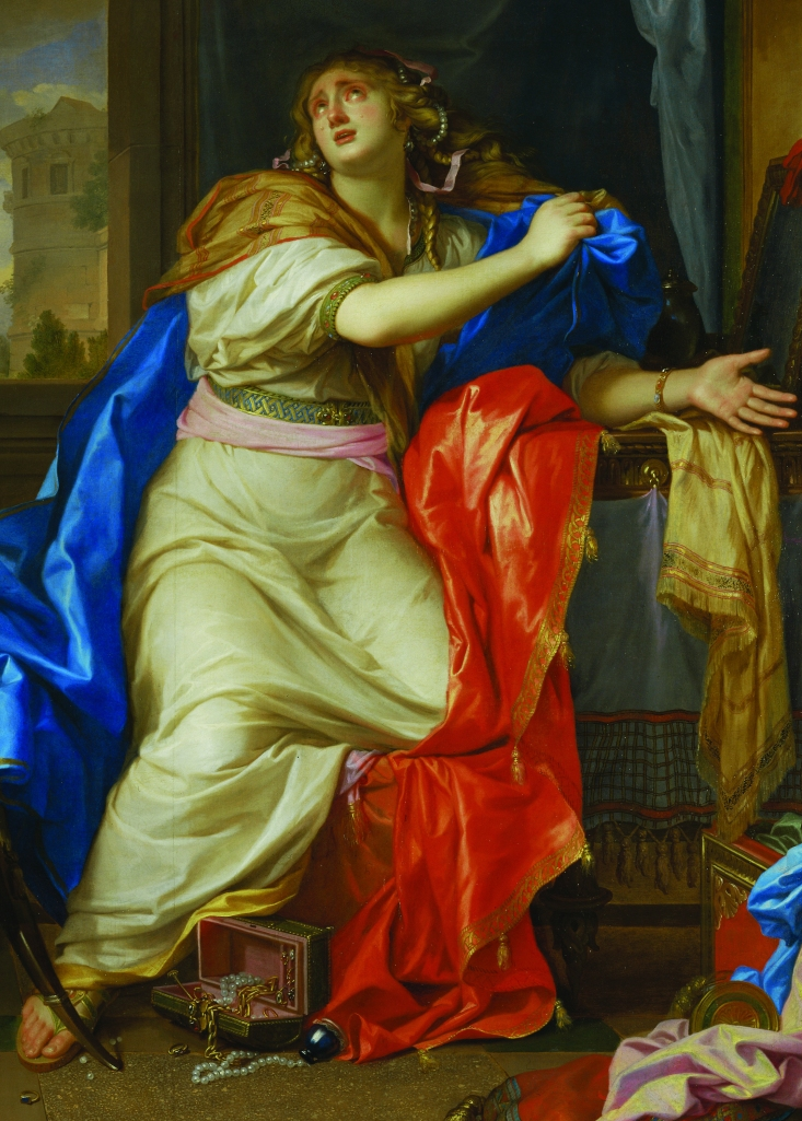Sainte Madeleine repentante renonce a toutes les vanites de la vie - Saint mary Magdalen renounces all pleasures of life.Painted after 1650 for the church of the monastery of the Carmelite nuns in Paris. Canvas.252 x 171 cm                 Inv.2890